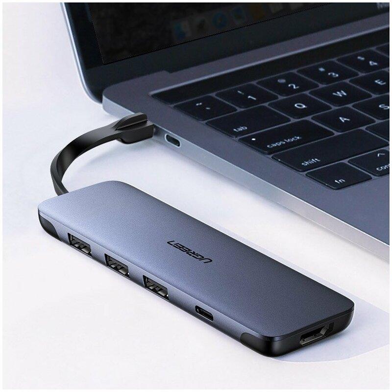 Hub Ugreen, Type-C la 3x USB 3.0, HDMI, Type-C PD, 100W, 5A, gri, 70408