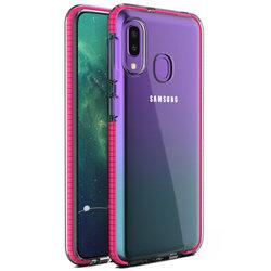 Husa Samsung Galaxy A20e Transparenta Spring Case Flexibila Cu Margini Colorate - Roz Inchis