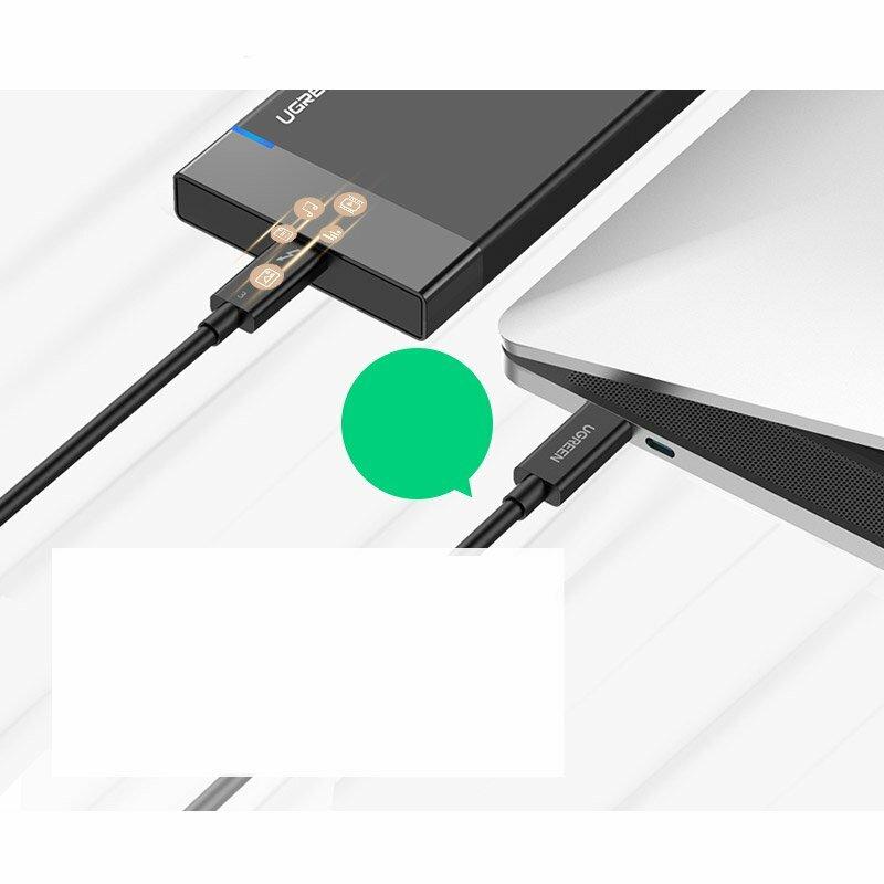 Cablu de date Ugreen Thunderbolt 3, Type-C, 5A, 40Gbps, 5K, 2m, negru, 70952
