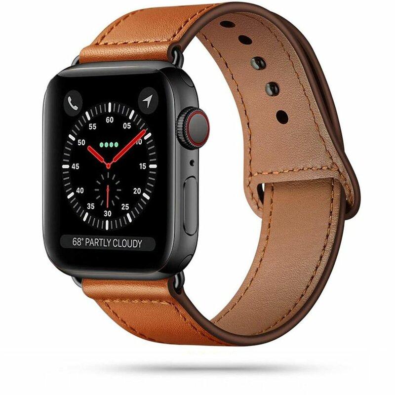 Curea Apple Watch 1 42mm Tech-Protect LeatherFit Din Piele Naturala - Maro
