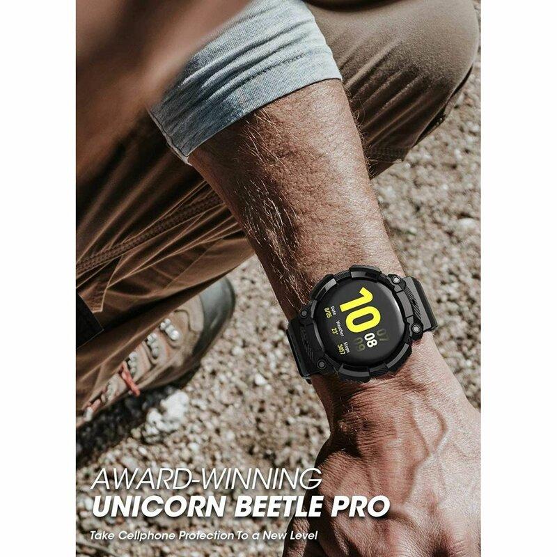 Curea + Bumper Samsung Galaxy Watch Active 2 44mm Supcase Unicorn Beetle Pro - Negru