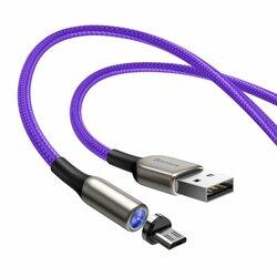 Cablu De Incarcare Baseus Zinc Magnetic De La USB La Micro-USB Cu Lumina LED 2A 1M - CAMXC-H05 - Violet