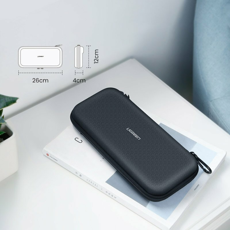 Husa Nintendo Switch Ugreen, spatii depozitare, holder metalic, negru, 50974