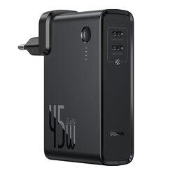 Incarcator Priza + Baterie Externa Baseus GaN 2xType-C Fast Charge 45W 10000mAh - PPNLD-F01 - Negru