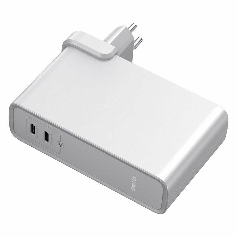 Incarcator Priza + Baterie Externa Baseus GaN 2xType-C Fast Charge 45W 10000mAh - PPNLD-F02 - Alb
