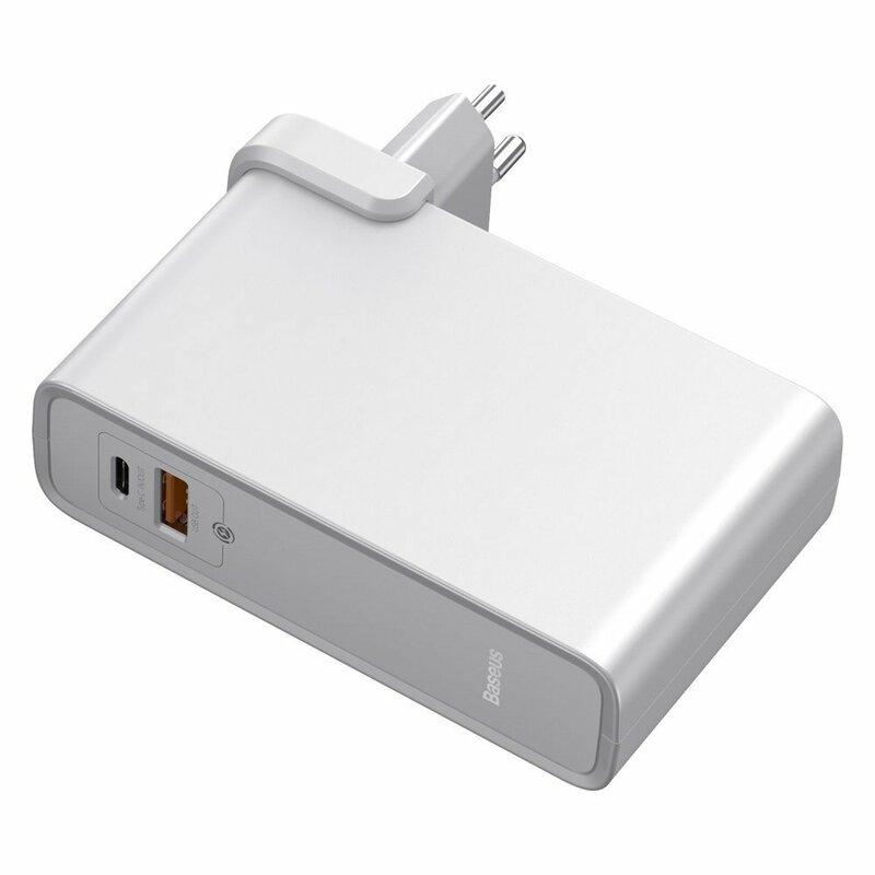 Incarcator Priza + Baterie Externa Baseus GaN 1xUSB + 1xType-C Fast Charge 45W 10000mAh - PPNLD-C02 - Alb