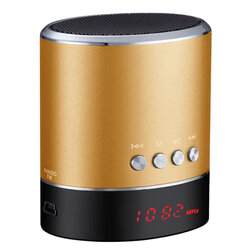 Boxa Portabila Universala Vennus A38s Wireless Cu Display LED/Bluetooth/Radio FM/Cablu Incarcare 3W - Auriu
