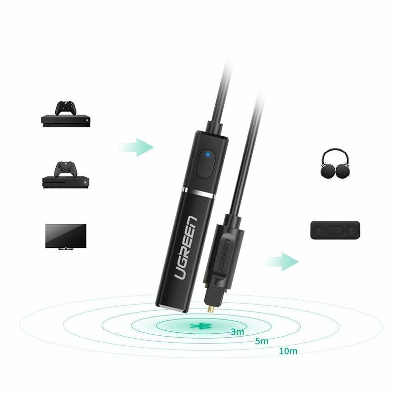 Transmitator Audio Ugreen CM150 Adaptor Bluetooth Digital Cu Conectare Prin Mufa Optica - 50213 - Negru