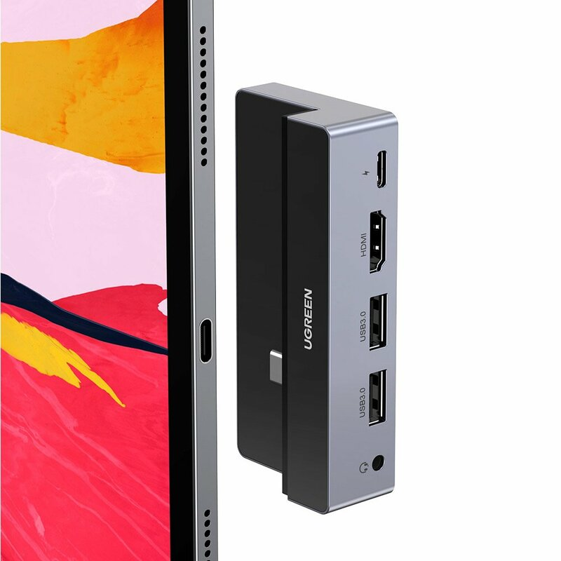 Hub Type-C Ugreen, iPad Pro la 2xUSB 3.0, HDMI, Jack, Type-C PD, 100W, gri, 70688