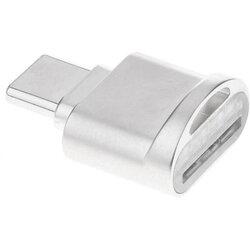 Adaptor OTG MicroSD - Type-C Cu Holder Metalic De Prindere - HR-USH014 - Argintiu