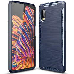 Husa Samsung Galaxy Xcover Pro Carbon Fiber Skin - Albastru