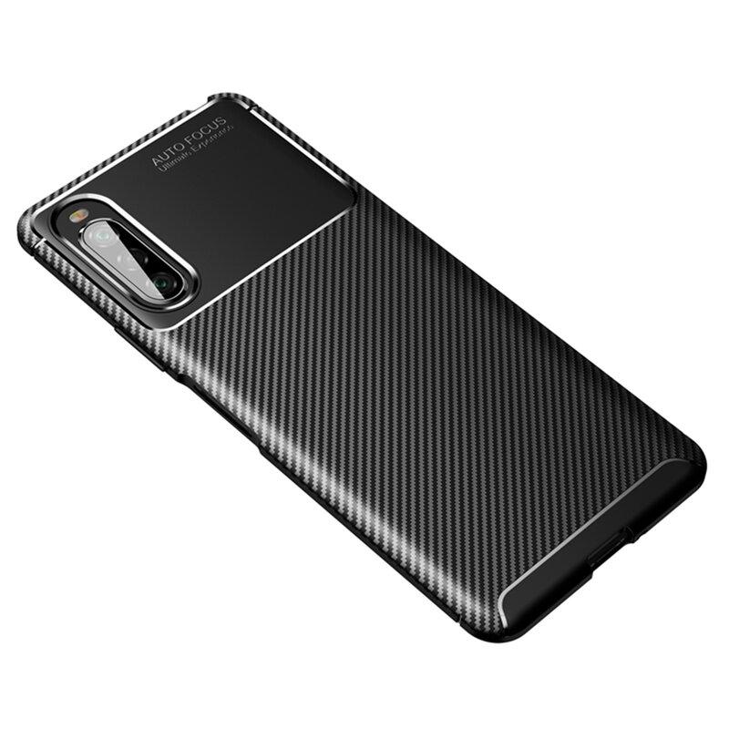 Husa Sony Xperia 10 II Carbon Fiber Skin - Negru