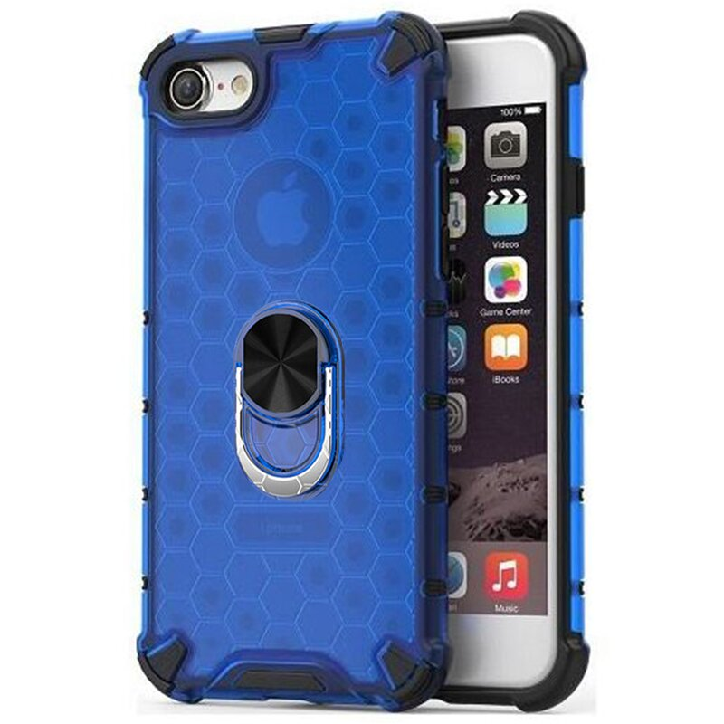 Husa iPhone 7 Honeycomb Cu Inel Suport Stand Magnetic - Albastru