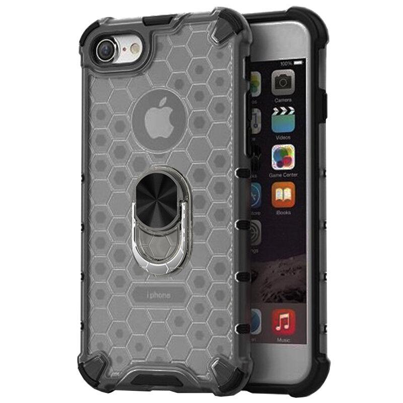 Husa iPhone 7 Honeycomb Cu Inel Suport Stand Magnetic - Negru