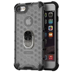 Husa iPhone 8 Honeycomb Cu Inel Suport Stand Magnetic - Negru