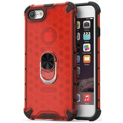 Husa iPhone SE 2, SE 2020 Honeycomb Cu Inel Suport Stand Magnetic - Rosu