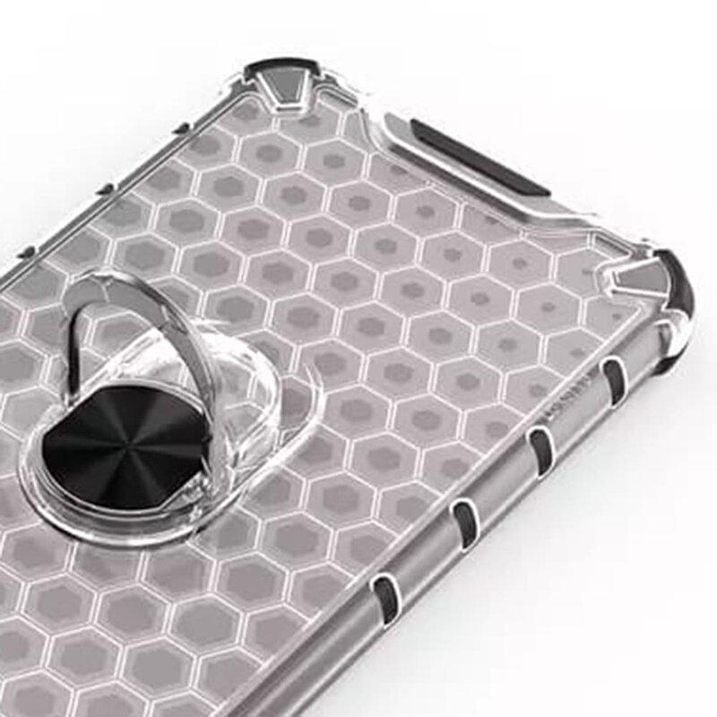 Husa iPhone SE 2, SE 2020 Honeycomb Cu Inel Suport Stand Magnetic - Albastru