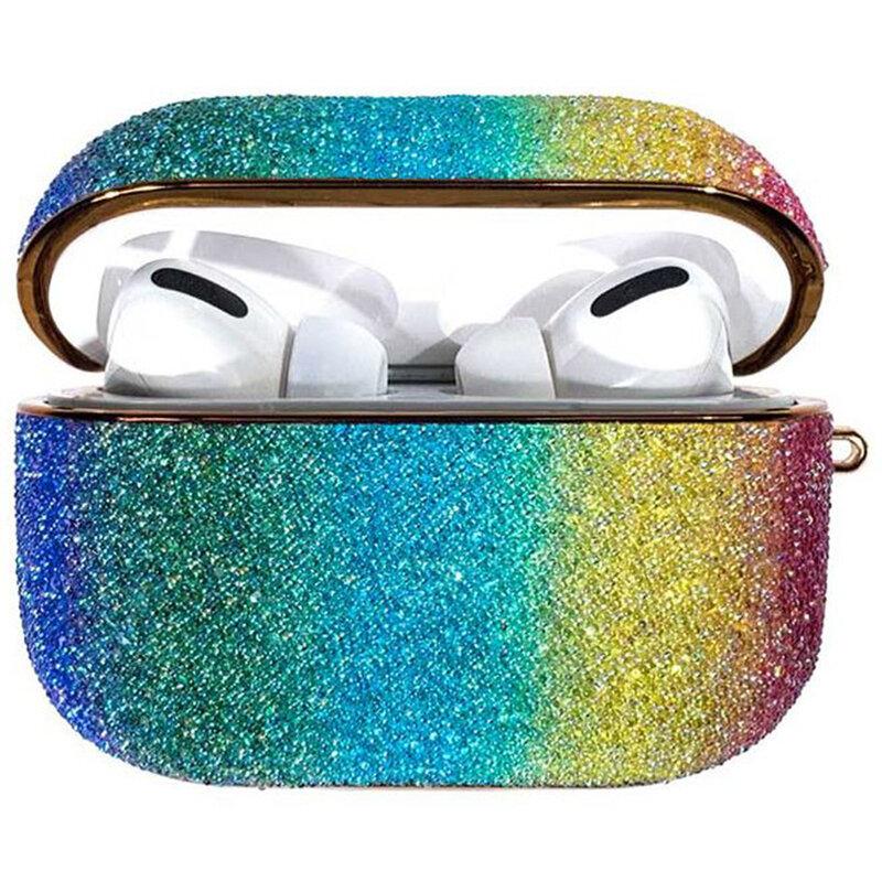 Husa Apple Airpods Pro Kingxbar Curcubeu Stralucitoare Cu Sclipici - Multicolor