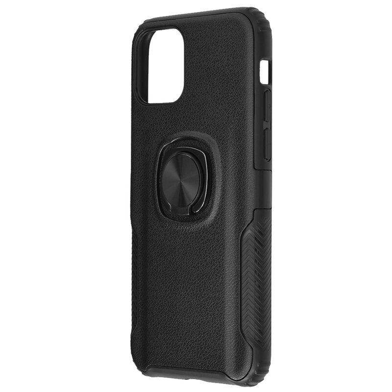 Husa iPhone 11 Pro Hybrid Cu Inel Suport Stand Magnetic - Negru