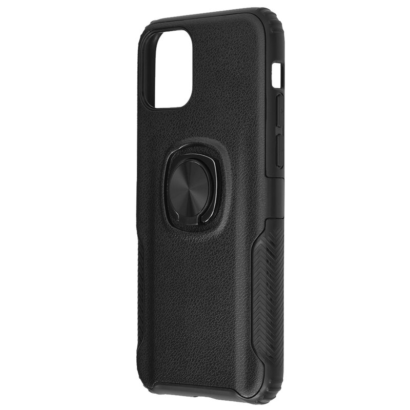 Husa iPhone 11 Pro Max Hybrid Cu Inel Suport Stand Magnetic - Negru