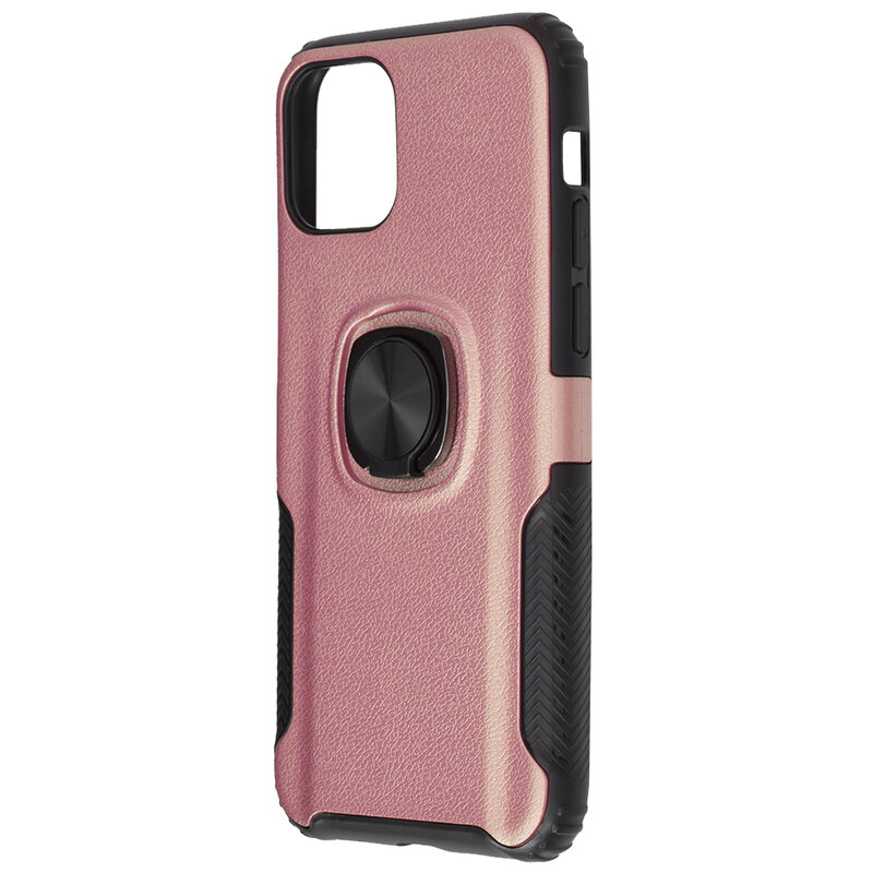 Husa iPhone 11 Pro Max Hybrid Cu Inel Suport Stand Magnetic - Roz