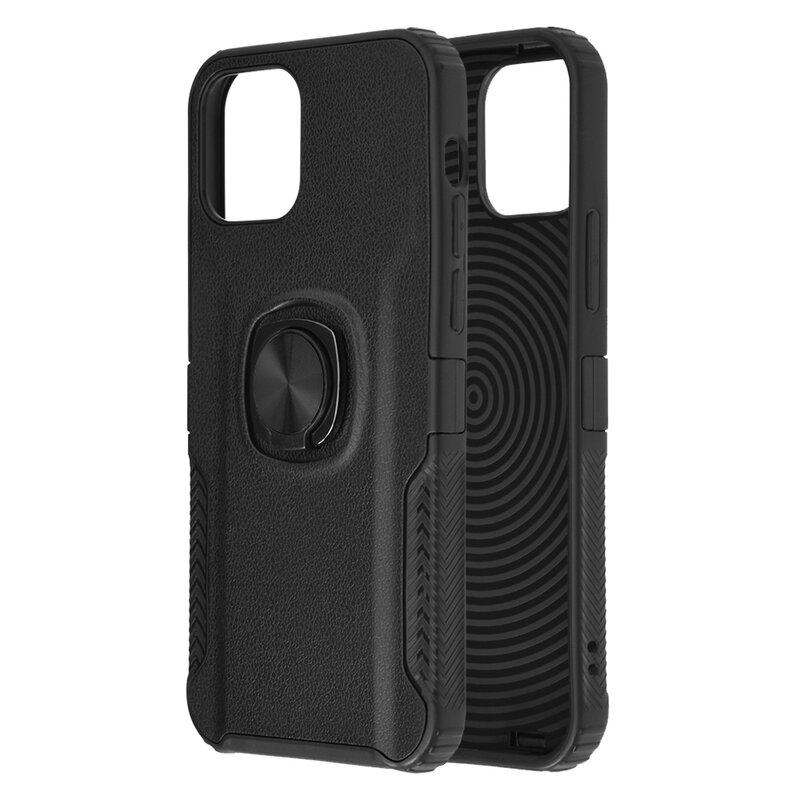 Husa iPhone 12 mini Hybrid Cu Inel Suport Stand Magnetic - Negru