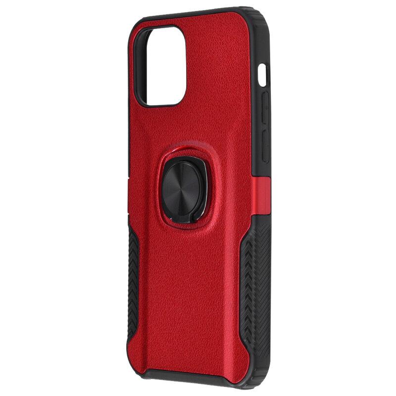 Husa iPhone 12 mini Hybrid Cu Inel Suport Stand Magnetic - Rosu