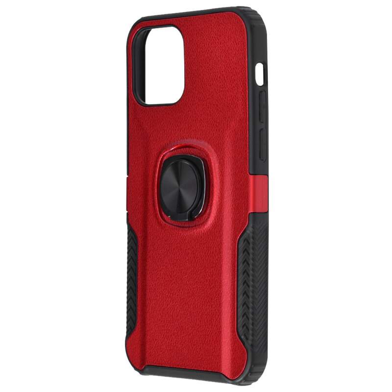 Husa iPhone 12 Pro Max Hybrid Cu Inel Suport Stand Magnetic - Rosu