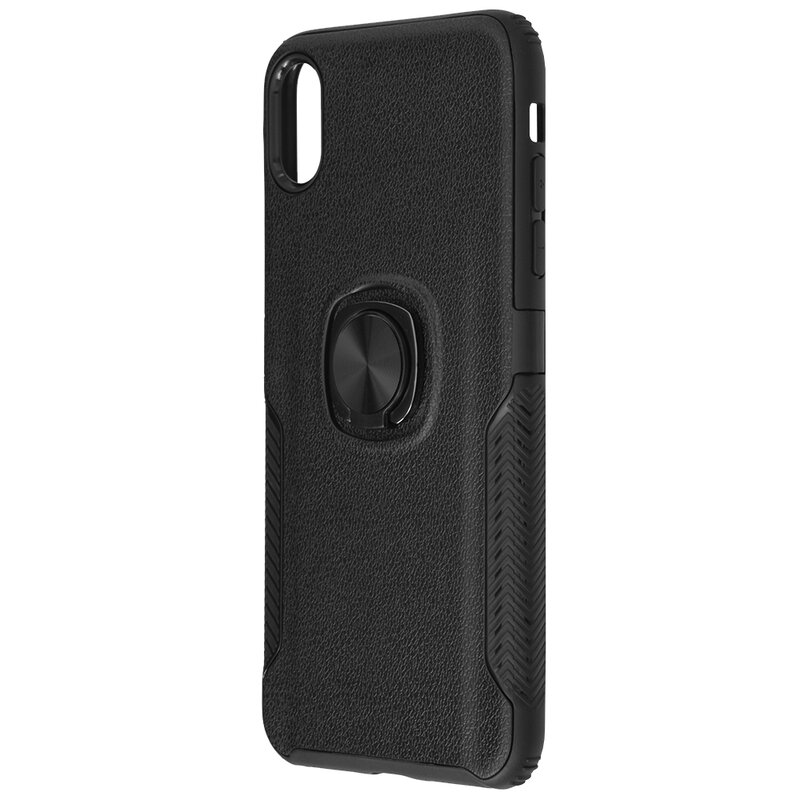Husa iPhone XS Hybrid Cu Inel Suport Stand Magnetic - Negru