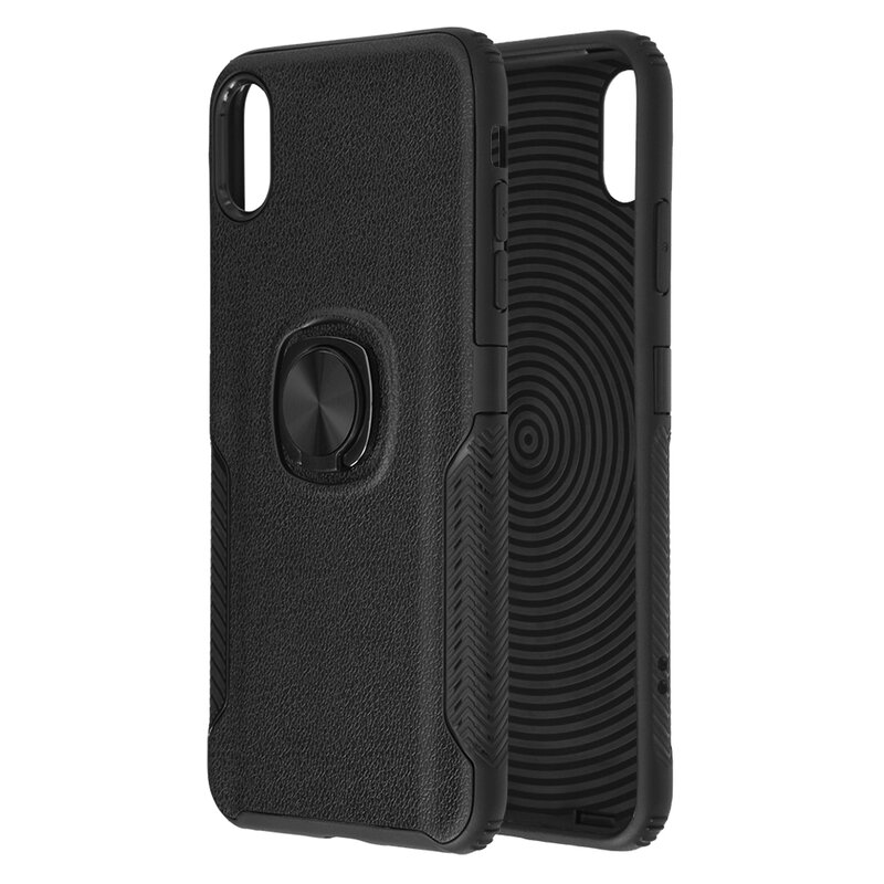 Husa iPhone XS Max Hybrid Cu Inel Suport Stand Magnetic - Negru