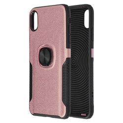 Husa iPhone XS Max Hybrid Cu Inel Suport Stand Magnetic - Roz