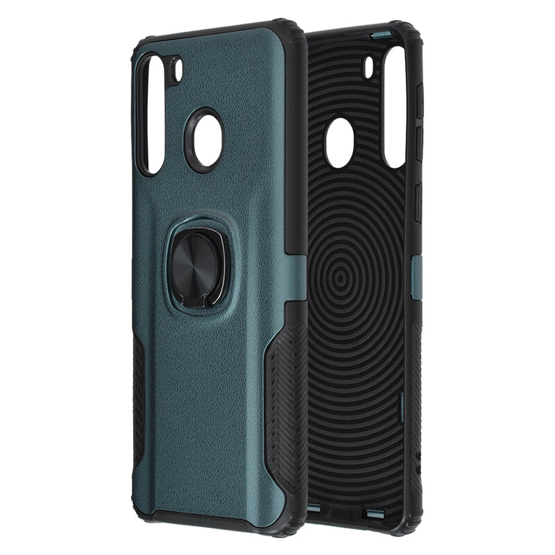 Husa Samsung Galaxy A21 Hybrid Cu Inel Suport Stand Magnetic - Verde