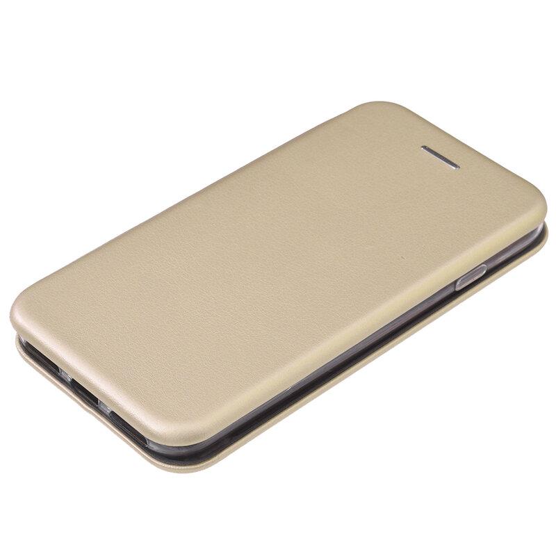 Husa iPhone 7 Flip Magnet Book Type - Gold