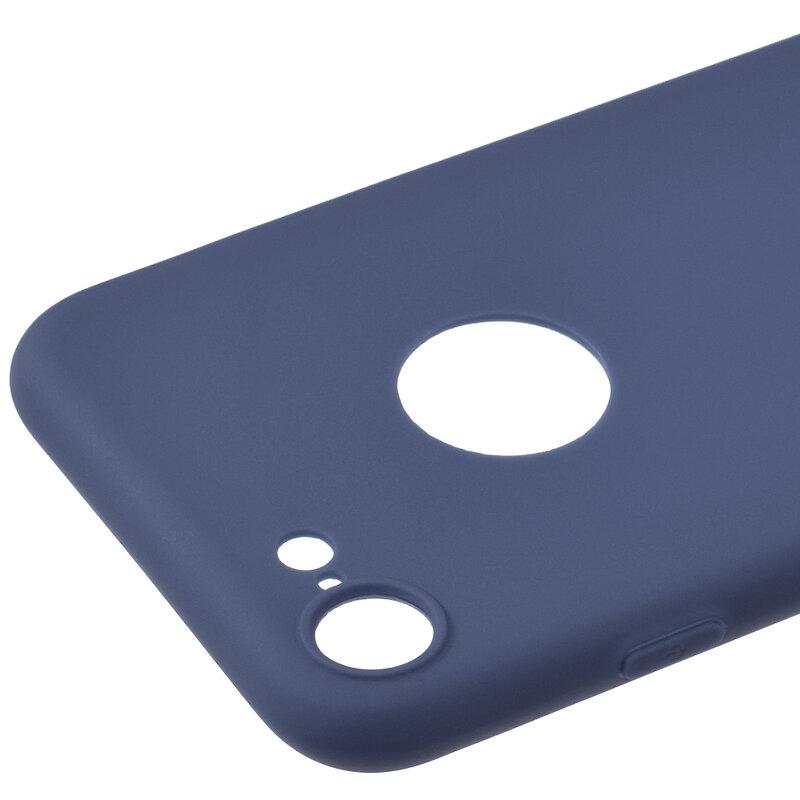 Husa iPhone 7 Soft TPU Cu Decupaj Pentru Sigla - Albastru