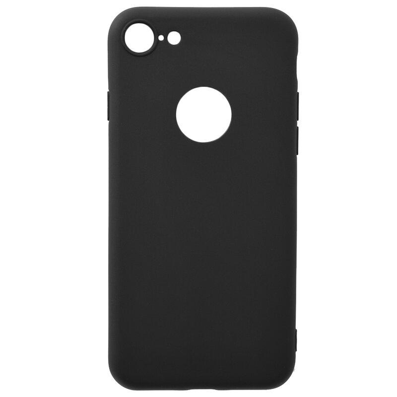 Husa iPhone 7 Soft TPU Cu Decupaj Pentru Sigla - Negru