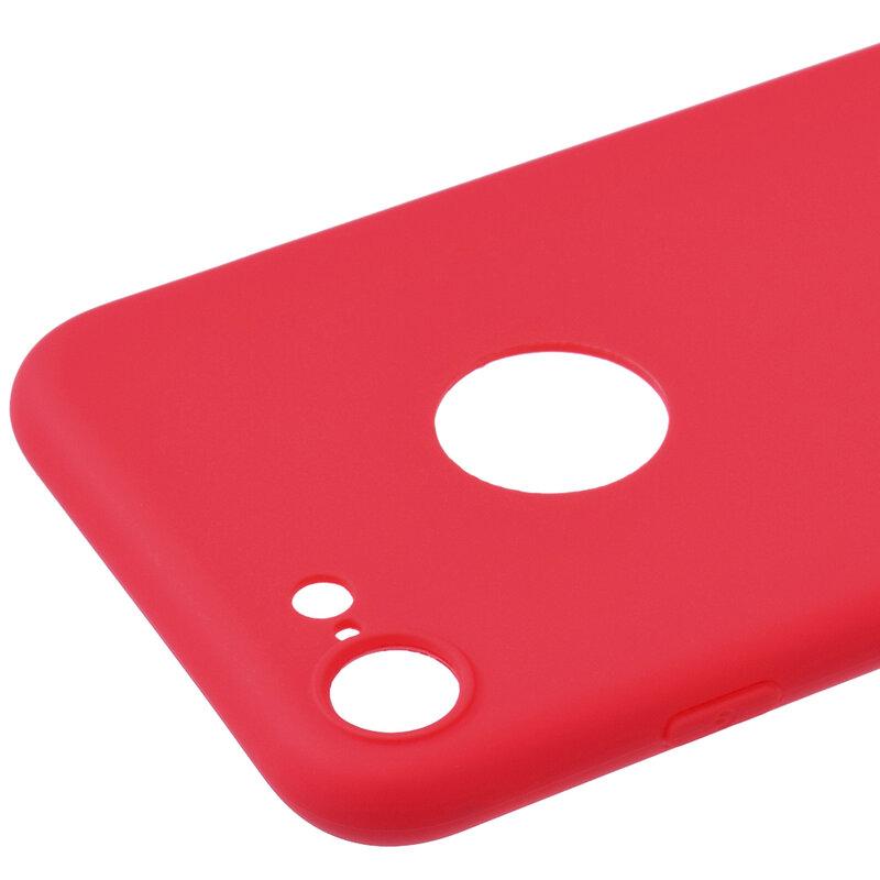 Husa iPhone 7 Soft TPU Cu Decupaj Pentru Sigla - Rosu