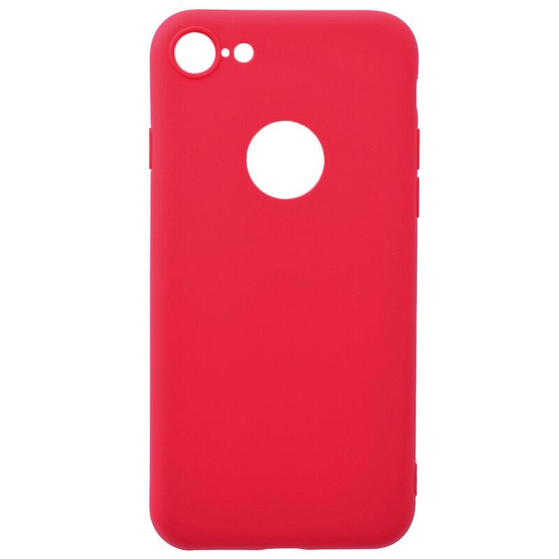 Husa iPhone 8 Soft TPU Cu Decupaj Pentru Sigla - Rosu