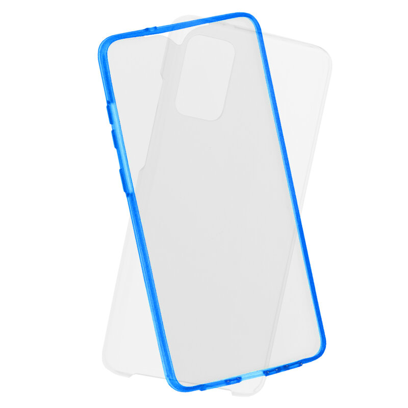 Husa Samsung Galaxy S20 Plus 5G FullCover 360 - Transparent Cu Margine Albastra