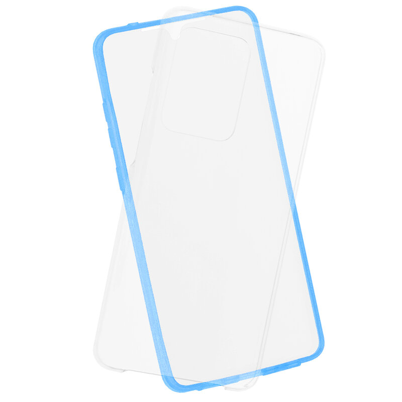 Husa Samsung Galaxy S20 Ultra 5G FullCover 360 - Transparent Cu Margine Albastra