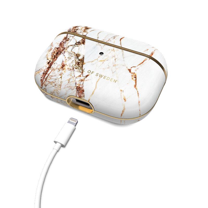 Husa Apple Airpods Pro iDeal of Sweden Din Piele Sintetica Premium - Carrara Gold