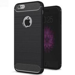Husa iPhone 6 Plus / 6s Plus TPU Carbon Cu Decupaj Pentru Sigla - Negru
