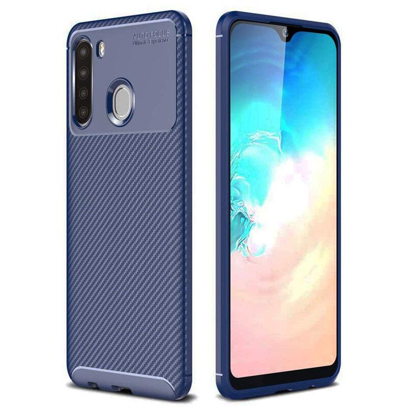 Husa Samsung Galaxy A21 Carbon Fiber Skin - Albastru