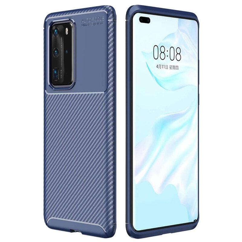 Husa Huawei P40 Pro Carbon Fiber Skin - Albastru