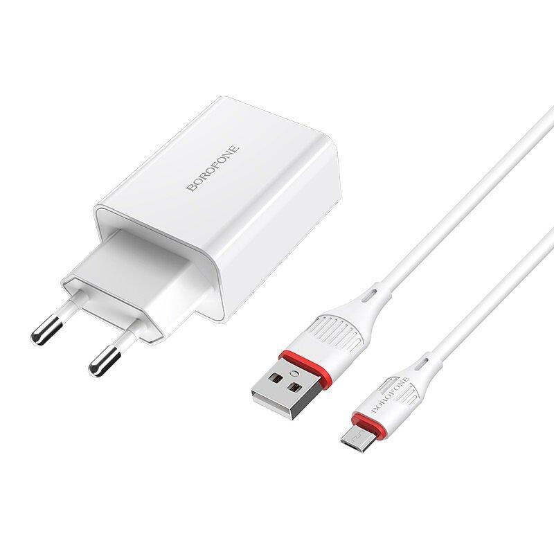 Incarcator Priza EU Borofone BA21A Incarcare Rapida + Cablu Micro-USB 3A 18W 1m - Alb