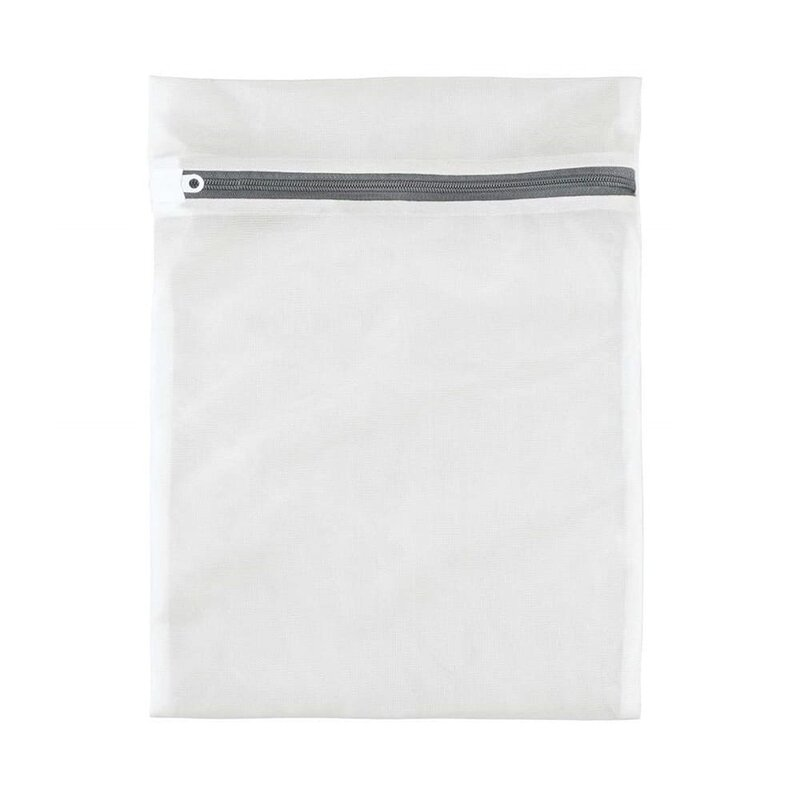 Sac Textil Cu Fermoar Pentru Spalat Si Depozitat Haine Delicate Si Lenjerie Intima 30x40cm - Alb