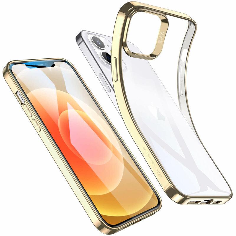Husa iPhone 12 mini ESR Halo Transparenta Cu Margini Colorate - Auriu