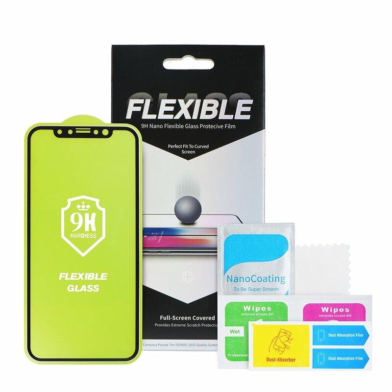 Folie iPhone 12 Nano Flexible Glass Full-Screen 9H - Black