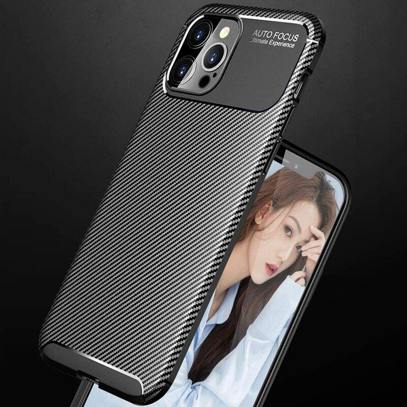 Husa iPhone 12 Pro Max Carbon Fiber Skin - Negru