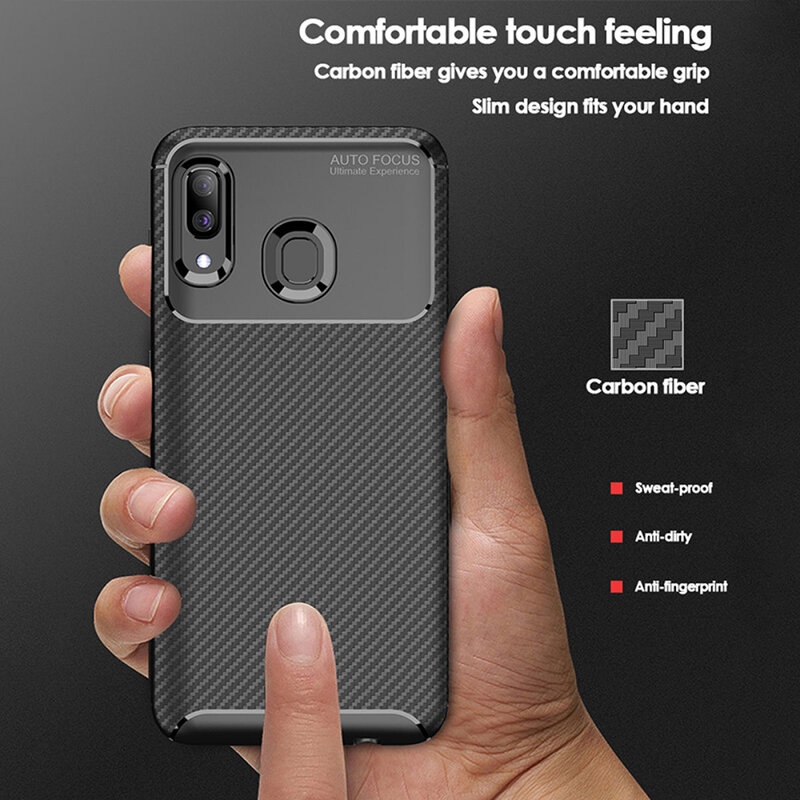 Husa Samsung Galaxy A20e Carbon Fiber Skin - Albastru