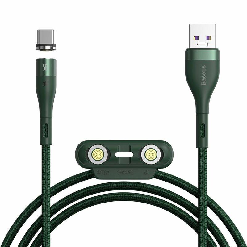 Cablu De Date Baseus Zinc Magnetic 3in1 Cu Incarcare Rapida 5A - 1m - CA1T3-B06 - Verde